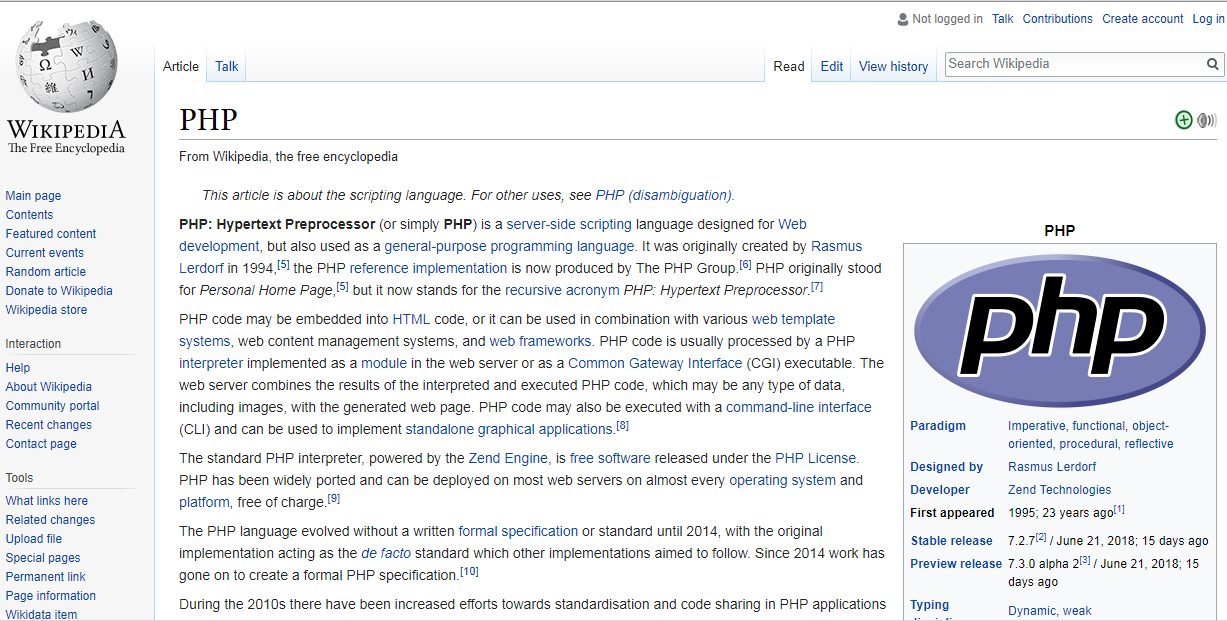 Wikipedia as a PHP site example