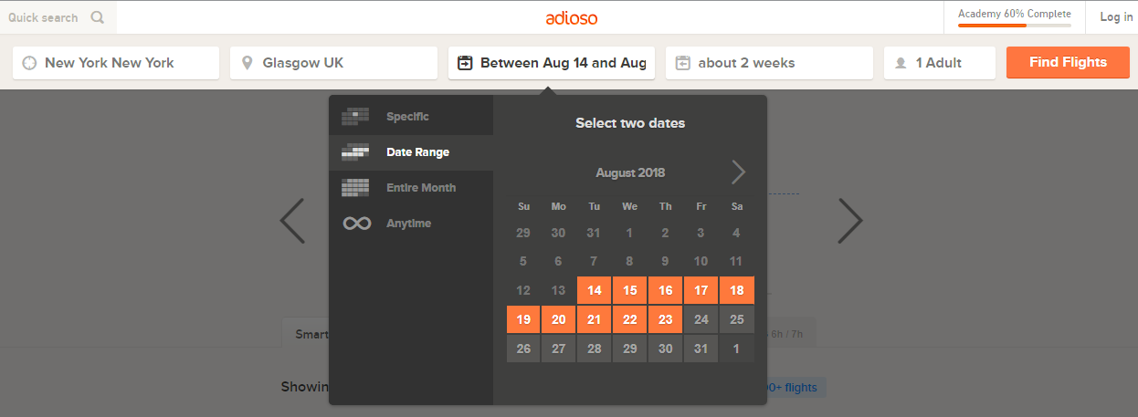 Adioso travel website calendar example