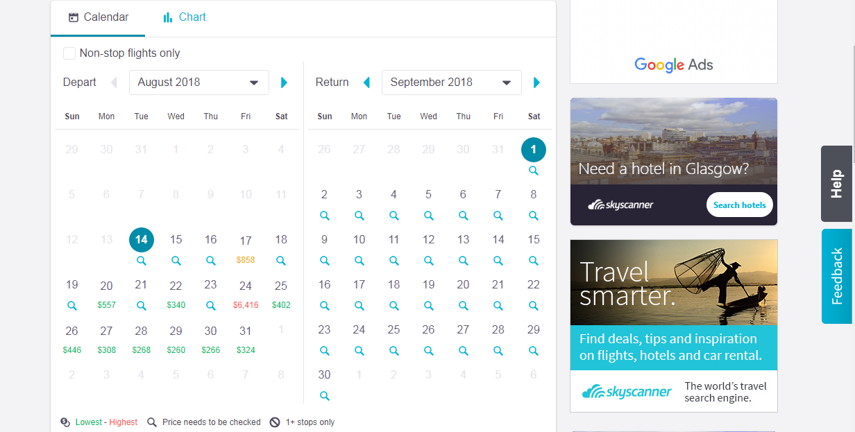 Booking.com travel website calendar example