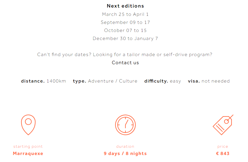 Outlines travel site copy example