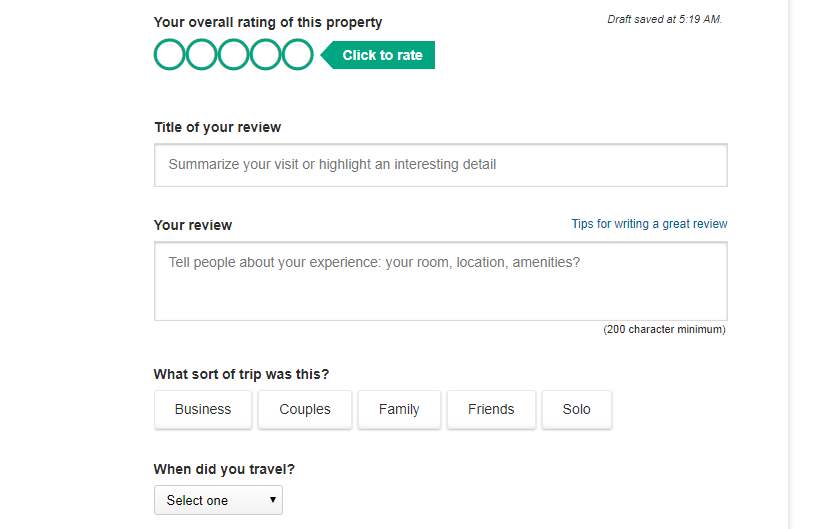 Structured review form